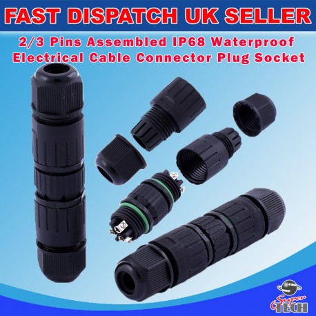 2 PINS ASSEMBLED WATERPROOF MALE FEMALE ELECTRICAL CABLE CONNECTOR PLUG SOCKET