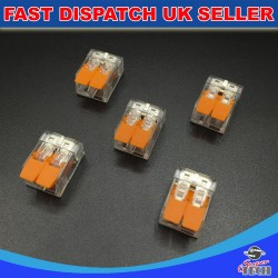10 X 2-5 SPRING LEVER PUSH FIT REUSABLE CABLE CLAMP ELECTRICAL WIRE CONNECTORS BLOCK. 12V 24V 220-240V FOR ALL TYPE CE APPROVED