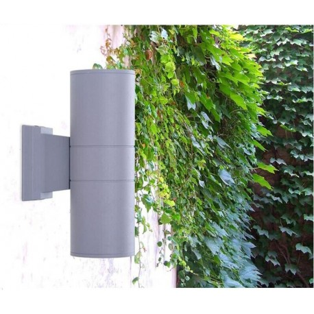 Up and Down LED Wall Light Waterproof Garden Lamp Light in Grey  including 2 x 3W Built In Bulb