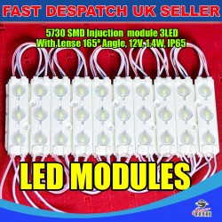 20 x 3 LED Cool White 5730 SMD Injection Module With Lense  IP65 LED Strip Light