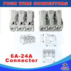10 x 3 Way Quick Push Wire Cable Connector Wiring Terminal Block For Led Lighting 24A 220V