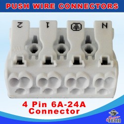 10 x 4 WAYS Quick Push Wire Cable Connector Wiring Terminal Block For Led Lighting 24A 220V