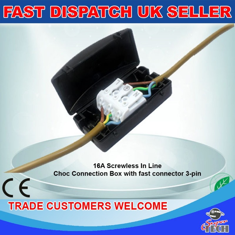 3 pole electrical junction box 2a 24a 240v terminal block inline rh supertech co uk Residential Wiring Junction Box Home Wiring Junction Box
