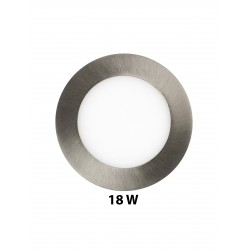 18W Round Satin Nickle Finish LED Recessed Ceiling Panel Down Light 6000