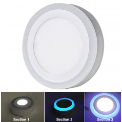 16W & 24W 3 Mode Dual Colour White/Blue Round Surface Mount Ceiling Led Panel
