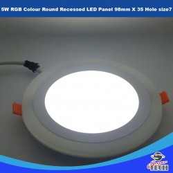 5W RGB Colour Round Recessed LED Panel 98mm X 35 Hole size 7