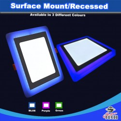 16W & 24W 3 Mode Dual Colour White/Blue Sqaure Surface Mount/Recessed Ceiling Led Panel