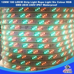 12MM 180 LED/M Strip Light Rope Light Six Colour  SMD 2835 240V IP67 Waterproof