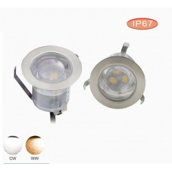 10 x 1W Led Deck Light Warm White and Cool White DC12v 3pcs 2835 IP67