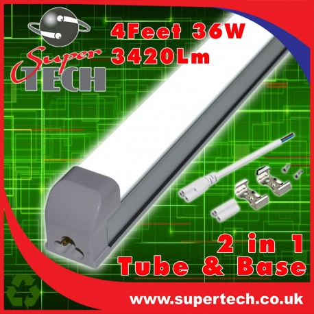 36W 1200mm(4ft) T8 integrated All in One, LED Tube, Isolated driver Cool White 3420Lm, With Fittings