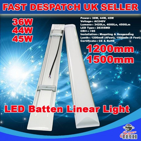 45W 1500mm LED Batten Linear Tube Light 5000lm, Cool White With Fittings