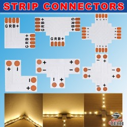 8mm 2 Pins T shape corner connector For IP20 Single Colour