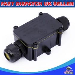 2 Way IP68 Outdoor Waterproof Junction Box Black 24A 450VAC T60 Enclosure Case Box Shell