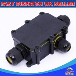 3 Way IP68 Outdoor Waterproof Junction Box Black 24A 450VAC T60 Enclosure Case Box Shell
