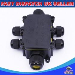 6 Way IP68 Outdoor Waterproof Junction Box Black 24A 450VAC T60 Enclosure Case Box Shell