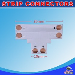 10mm 2 pins T shape corner connector For IP20 Single Colour