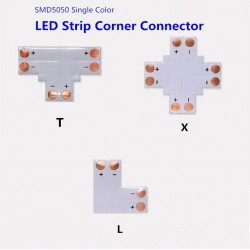 8mm 2 Pins L shape corner connector For IP20 Single Colour