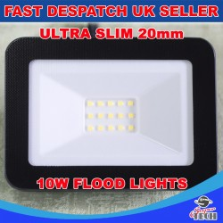 10W Ultra Slim 20mm Led Flood, Spot light Waterproof Aluminum Cool white Garden/Garage
