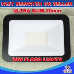 30W Ultra Slim 20mm Led Flood, Spot light Waterproof Aluminum Cool white Garden/Garage