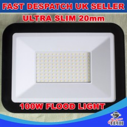 100W Ultra Slim 20mm Led Flood, Spot light Waterproof Aluminum Cool white Garden/Garage