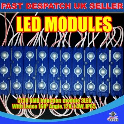 20 x 3 LED Blue 5730 SMD Injection Module With Lense  IP65 LED Strip Light