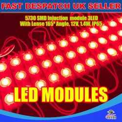 20 x 3 LED Red 5730 SMD Injection Module With Lense  IP65 LED Strip Light