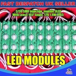 20 x 3 LED Green 5730 SMD Injection Module With Lense  IP65 LED Strip Light