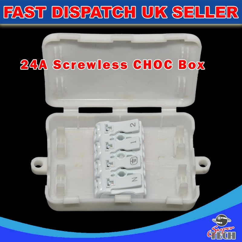 4 POLE TERMINAL BLOCK INLINE WIRE CHOC BOX WITH  4 Pin SCREWLESS FAST CONNECTORS