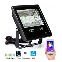 30W Bluetooth RGB LED Flood Light, 90-265V, 50-60Hz 2000LM