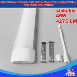 45W 1500mm Linkable LED Batten Linear Tube Light 4275lm, Cool White With Fittings