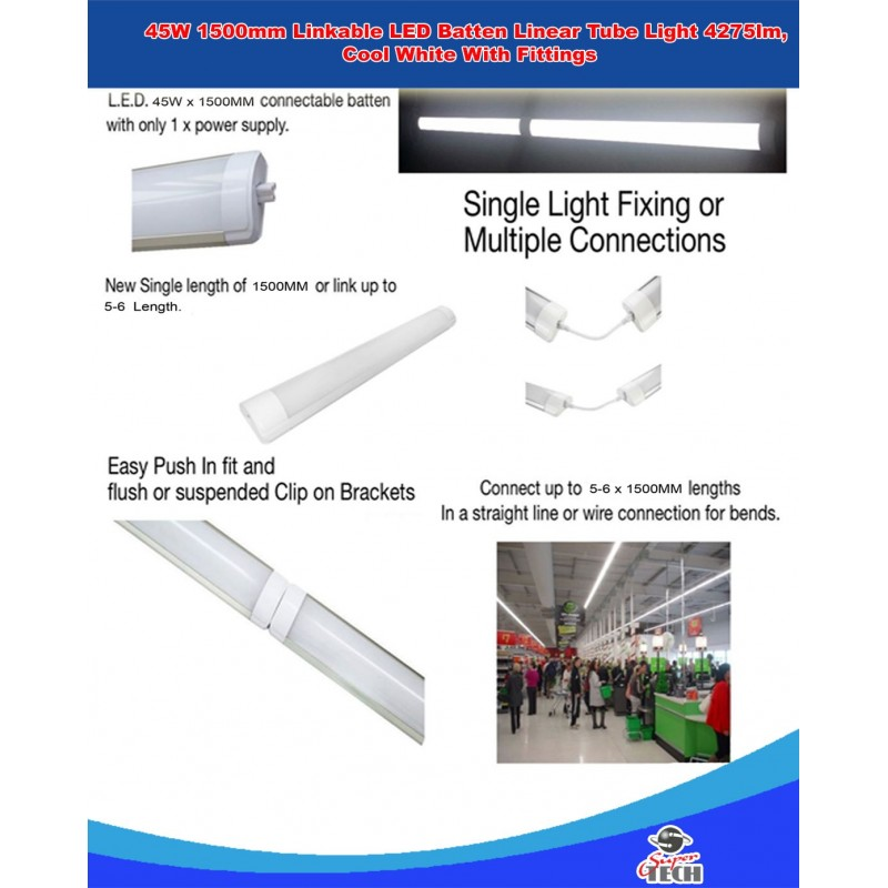 Building Materials & Supplies 6x 2FT 600mm Slim Linkable LED Batten
