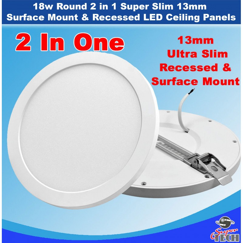 18w Round 2 in 1 Super Slim 13mm Surface Mount & Recessed LED Ceiling Panels