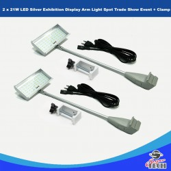 2 x 21W LED Silver Exhibition Display Arm Light Spot Trade Show Event + Clamp UK