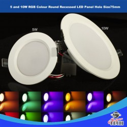 5W and 10W RGB Colour Round Recessed LED Panel 98mm X 35 Hole size 7