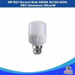 9W B22 Normal Bulb 6000K AC165-265V, PBT+Aluminum 90Lm/W