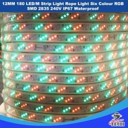12MM 180 LED/M Strip Light Rope Light Six Colour RGB  SMD 2835 240V IP67 Waterproof