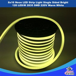 8x16 Neon LED Strip Light Single Sided Bright 120 LED/M 2835 SMD 220V Warm White/Cool White/Blue