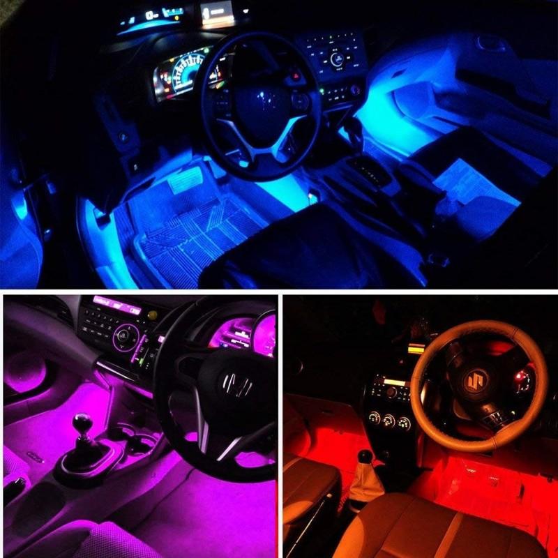 4x9 led car strip lighting kit rgb car interior atmosphere - Automotive interior led light strips ...
