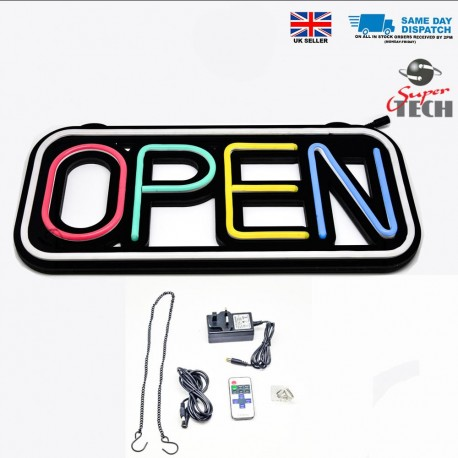 Led Neon SILICONE OPEN SIGN Rectangle Shape Board Shop Sign With Remote Control