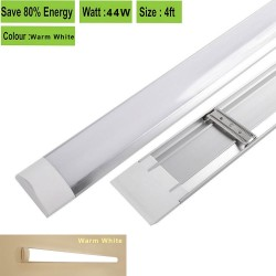 44W 1200mm Ultra Slim LED Batten Linear Tube Light 4000lm, Warm White With Fittings