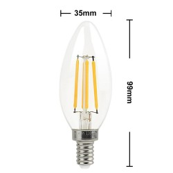 4W E14/SES Candle Filament LED Light Bulbs Warm White 2700K CLEAR