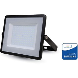 50W Slimline FLOODLIGHT WITH SAMSUNG CHIP Cool White BLACK BODY Outdoor Light 6400K