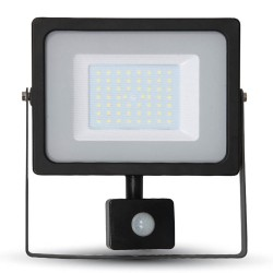 50W SMD PIR SENSOR Slimline FLOODLIGHT WITH SAMSUNG CHIP Cool White BLACK BODY Outdoor Light 6400K