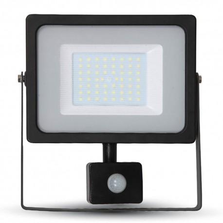 50W SMD PIR SENSOR Slimline FLOODLIGHT WITH SAMSUNG CHIP Cool White BLACK BODY Outdoor Light 6400K