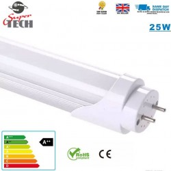 25W T8 1500mm LED Tube Light, Two Pin, Cool White Lamp - Traditional Florescent Direct Replacement