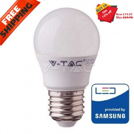 Pack of 10 7W VTAC E27 G45 Golf Led Bulb Lamp Bulb with Samsung Chip 6400K 600Lm