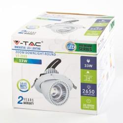 33W LED ZOOM FITTING 220-240V DOWNLIGHT ROUND COB Light  IP20 4500K