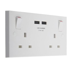 13A 2-Gang SP Switched Socket & USB Charger Outboard Rocker White