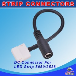 10mm  2 Pin LED Strip 5050/3528 Connector Cable To DC Female Adaptor For Single Colour