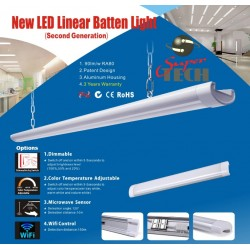 60W 1500MM Tri-Proof LED Batten Linear Tube with IP67 Connector,With Microwave sensor